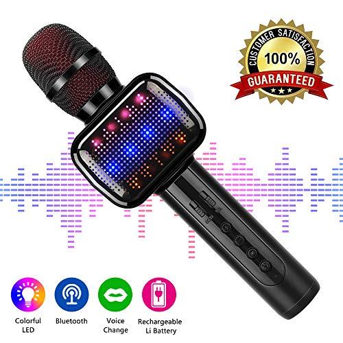 Karaoke Mikrophon, Karaoke Anlage Kinder, Bluetooth 4.2 Karaoke-Mikrofon Tragbare Handheld Karaoke Mic Home Party Weihnachten Geburtstag Lautsprecher Maschine für iPhone/Android
