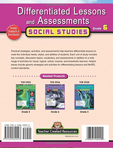 Differentiated Lessons and Assessements: Social Studies, Grade 6