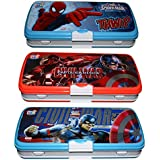 Ski Homeware Marvel Branded 3 Way Compartment Pencil Box With 5 Free Items, Style And Color May Vary