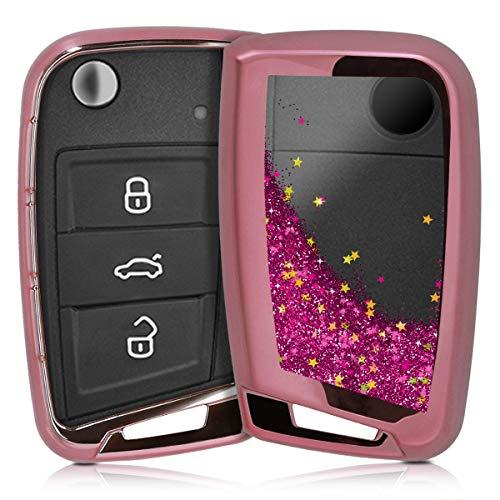 kwmobile Autoschlüssel Hülle für VW - TPU Schutzhülle Schlüsselhülle Cover für VW 3-Tasten Autoschlüssel (nur Keyless Go) Pink Metallic Pink