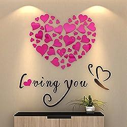 Amor Romántico encantador estéreo LiTie tatuajes de pared dormitorio acogedor salón pared cama matrimonio habitación de decoración en la superficie de una pared, el rojo,