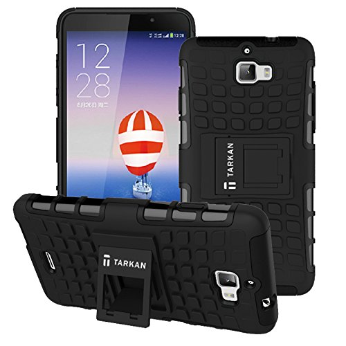 TARKAN Hard Armor Hybrid Rubber Bumper Flip Stand Rugged Back Case Cover For Micromax Canvas Nitro A310 / A311 (Black)