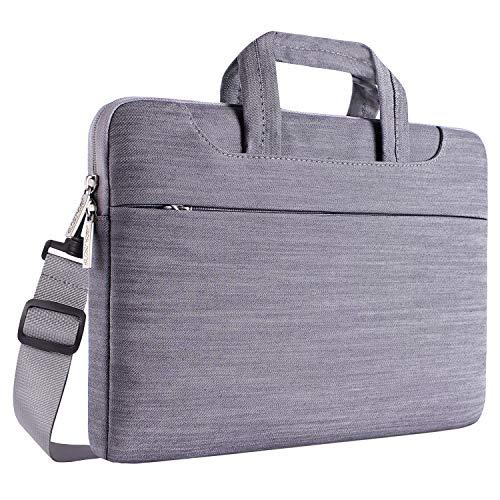 MOSISO Laptoptasche für 13-13,3 Zoll MacBook Pro, MacBook Air, Notebook Computer, Denim Stoff Laptop Schultertasche Umhängetasche Sleeve Hülle Beweglicher Notebooktasche mit Zubehör Fächern und Handgriff als Schutz, Grau