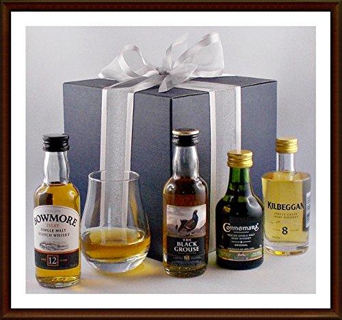 Exklusives Geschenk 4 Whisky Miniaturen aus den ältesten Brennereien mit Spey Dram Glas, kostenloser Versand