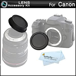Rear Lens Cap and Camera Body Cover Cap for CANON Rebel Canon EOS 5D Mark III, EOS-1D X, EOS 6D, EOS 7D, EOS 60D, EOS 70D, T5i, T4i, SL1, T3i, T3, EOS M DSLR, (CANON EOS 1100D 600D 550D 500D 450D 400D 350D 300D) ButterflyPhoto Microfiber Cleaning Cloth