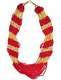 Purpledip Multistrand Necklace Rani Haar With Red & Golden Beads For Women (30079)