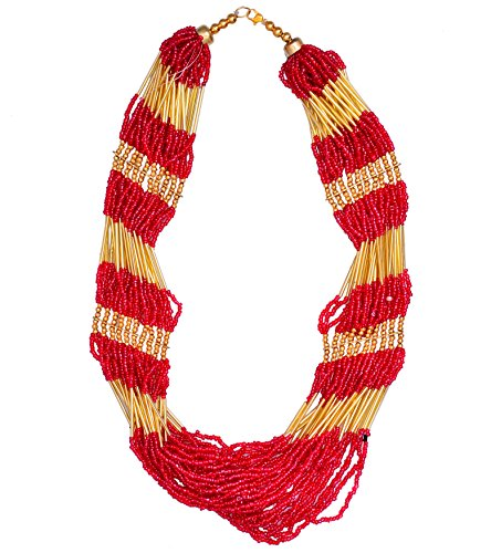 Purpledip Multistrand Necklace Rani Haar With Red & Golden Beads For Women (30079)  available at amazon for Rs.319