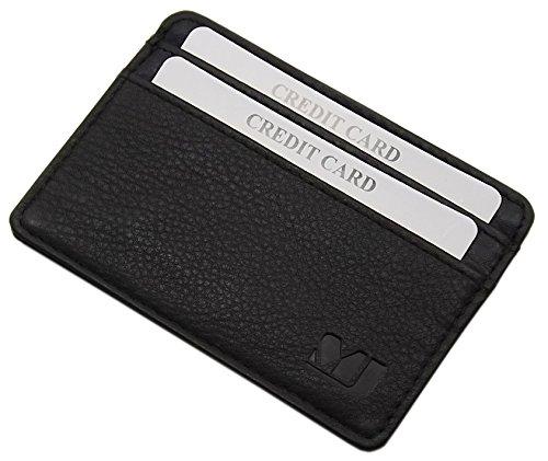 Extra plate et petit cuir porte cartes de crédit MJ-Design-Germany en 3 différentes couleurs (Noir)