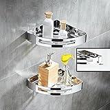 KIEYY 304 Edelstahl Badewanne Zimmer, die Dusche Rack, 2 Bad, Dusche, Wc, dreieckig, keine Löcher., Double Layer [genagelt Leim installation]