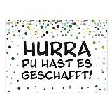 Große XXL Glückwunsch-Karte mit Umschlag/A4/Buntes Konfetti - Hurra DU hast es geschafft/Moderne Grußkarte zur bestandenen Prüfung