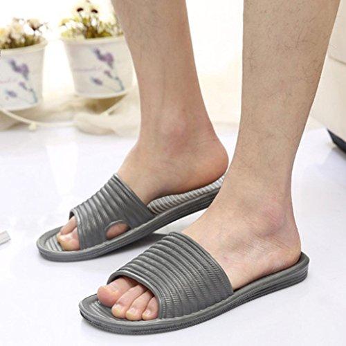 Webla Man Stripe Flat Bath Slippers Summer Sandals Indoor & Outdoor Slippers Gray