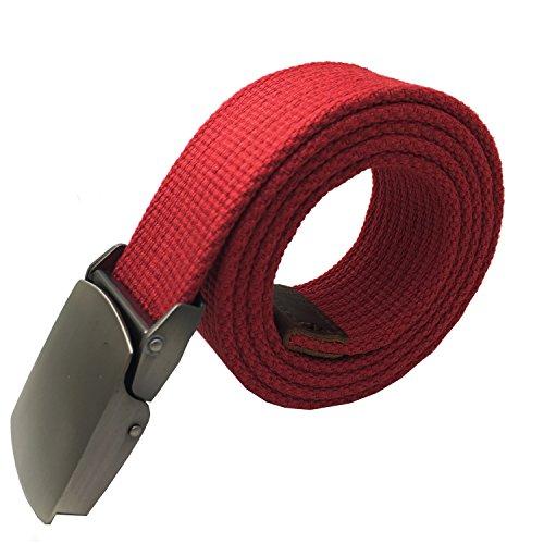 W.Best Herren verstellbaren Segeltuch Gürtel Dornschließe Taillengürtel Beiläufige Gürtel Militär mit Metall Gürtelschnalle Red