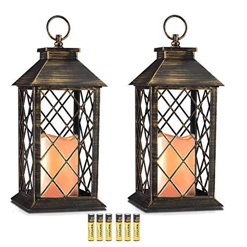 Evermore Light 14 '' golden brushed vintage-kerze laterne mit flickering flameless led kunststoff laterne metallic-beschichtung 4 stunden timer 14