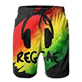 Funny&shirt Reggae Music Jamaica Rasta Men's Boardshorts Printed Quick Dry Board Shorts Large