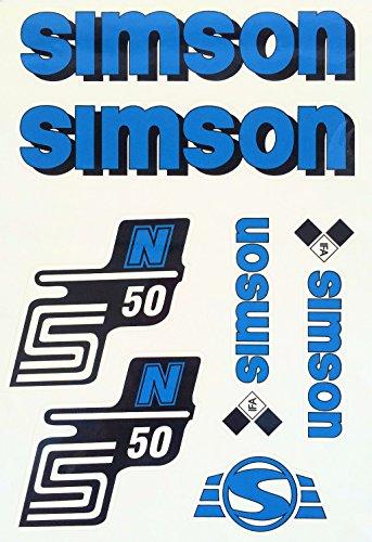 Aufkleber-Set für Simson S50N Tank und Seitendeckel Silber, Rot, Blau, Weiß, Grün, Gelb (Blau) -
