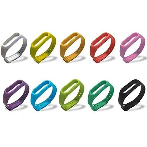 LYMBIT® 10 Pzs MI BAND 2 Banda de Repuesto Correa de Recambio Brazalete Extensibles Surtido de Colores para Xiaomi Mi Band 2 Wireless Pulsera Inteligente