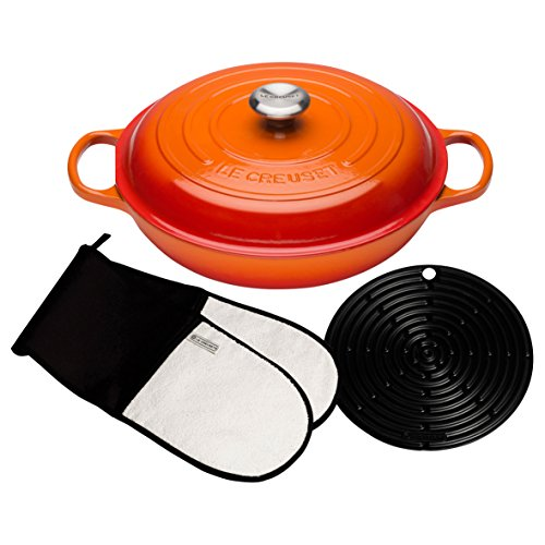 Le Creuset Signature Cast Iron Shallow Casserole with Accessories, 30 cm - Volcanic