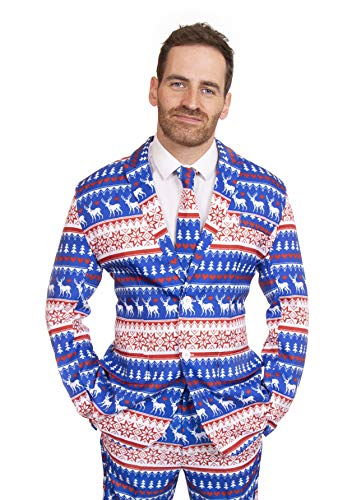 Kostüm Blue Santa - Christmas Pattern in Red & Blue Designer Stag Suit (Men: Small)