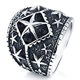 Beydodo Schmuck Edelstahl Männer Ringe Pentagram Sterne Silber Ring für Herren Freundschaftsring Gr.67 (21.3)