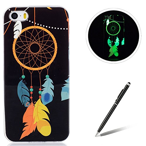 iPhone 5/5S/SE Silicone Case,iPhone 5/5S/SE Gel Case,Feeltech [Free 2 in 1 Black Stylus Pen] Luminous Effect Noctilucent Green Glow in the Dark Matte White Ultra Slim Soft Rubber Shock Absorber Flexib Dreamcatcher della piuma