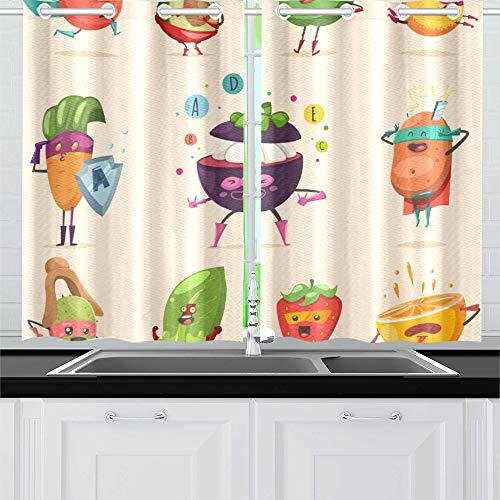 JOCHUAN Lustiges Obst Gemüse Superheld Kostüm Küche Vorhänge Fenster Vorhang Stufen für Café, Bad, Wäscherei, Wohnzimmer Schlafzimmer 26X39 Zoll 2Stück