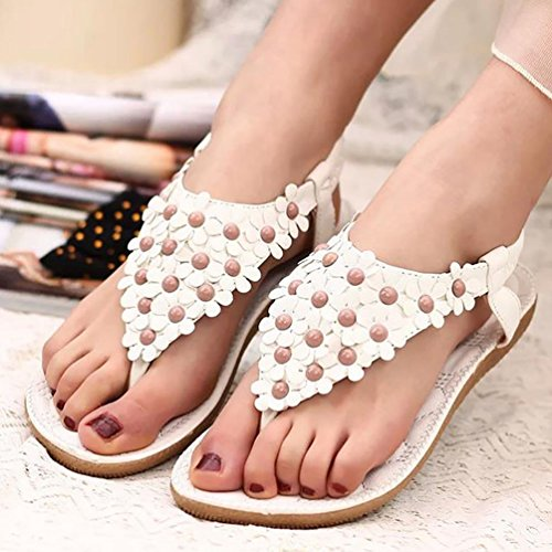 YOUJIA Femmes De Bohême Simple Sandales Avec Petits Fleurs Chaussures De Plage Blanc #1