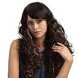 Mufly Modische natürliche Braun Lange Lockige Haar Synthetische Perücke mit