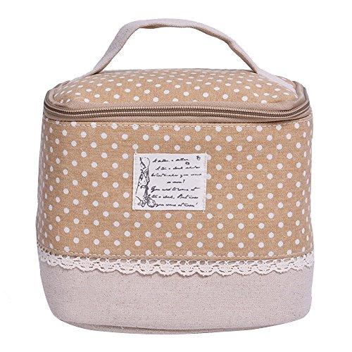 Contever® Multifunzione Sacchetto Hand Cosmetic Borsa da Toilette Borsetta da Viaggio Cosmetico Wash Bag per le Donne la Girl - Cachi