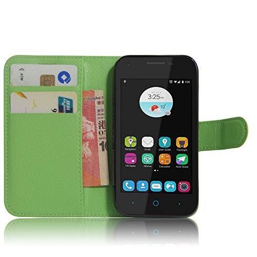SMTR ZTE blade L110 Wallet Tasche Hülle - Ledertasche im Bookstyle in Grün - [Ultra Slim][Card Slot][Handyhülle] Flip Wallet Case Etui für ZTE blade L110