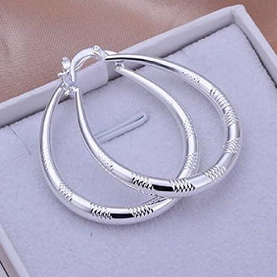 Joyería elegante moda, plata 925, eardrop grande ovalado con amplia cuadrado