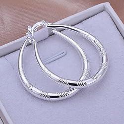 joyliveCY-Joyer¨ªa elegante moda, plata 925, eardrop arracada grande ovalado con amplia cuadrado 3.9X3.2CM