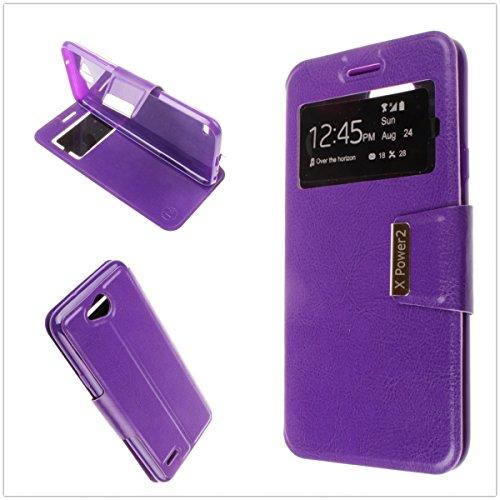 MISEMIYA Hüllen Taschen Schutzhülle Cover für LG X Power 2 - Hüllen, Cover View Buch Stütz,Purple (2 Piel Tasche)