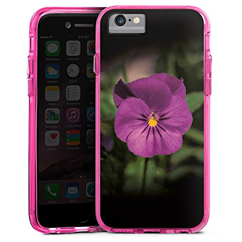 Apple iPhone 8 Bumper Hülle Bumper Case Glitzer Hülle Blume Flower Lila Bumper Case transparent pink