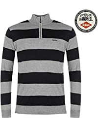 Lee Cooper ¼ Zip Knit Pull pour homme Gris/bleu marine Pull Top