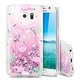 Galaxy S6 Hülle , 3D Glitzer Transparent Silikon Tasche mit Weich Rahmen Fließen Flüssig Bling Schwimmend Treibsand Liquid Bunte Stern Herz Case Cover für Samsung Galaxy S6 - Großer Rosa Flamingo