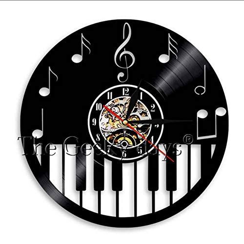 TIANZly Musik Merkt Vinylaufzeichnungsuhr Handgemachte Klavier-Partei-Wandkunstdekorationuhr Violinschlüssel-Symbolmusikschattenbild-Raumkunst Raumdekoration (Dem Film Klavier-musik Aus Halloween)