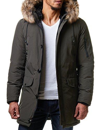 Burocs Herren Parka Winter-Jacke Kunst-Fell Imitat Kapuze Schwarz Khaki BR1625, Größe:XXL, Farbe:Khaki - 2