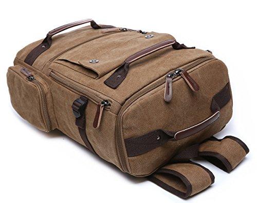 BAOSHA BP-26 Herren Rucksack Vintage Canvas Wanderrucksäcke Reiserucksack Schulrucksack Schule Laptop Tasche bis zu 15.6 zoll, Große Kapazität Kaffee