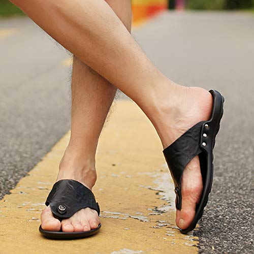 Haiyu Chanclas de los hombres Summer Men's Flip Flops Slippers Black Flippers Outdoor Casual Beach Shoes Men, 42, Black