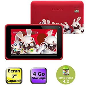 """Lenco Cooltab-72 Lapins Cretins Tablette tactile 7"""" (17,78 cm) ARM Cortex A7 1,2 GHz 4 Go Android Jelly Bean 4.2.1 Wi-Fi Rouge"""