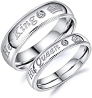 Fate Love Jewelry Stainless Steel His Queen & Her King Wedding Couple Ring Band Matching Set, Love Gift