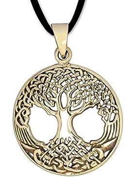 Runder Anhänger Baum des Lebens Keltischer Lebensbaum Schmuck – Heilung - mit Lederhalsband Weltenbaum aus Bronze