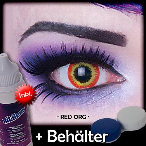 Farbige rote orange Kontaktlinsen Crazy Color Fun Contact Lenses Red Ork perfekt zu Fasching, Karneval und Halloween Topqualität inkl. 60 ml Pflegemittel und Linsenbehälter