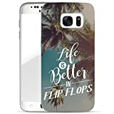 Finoo Samsung Galaxy S7 Handy-Tasche Schutzhülle | ultra leichte transparente Handyhülle aus flexiblen Silikon | stylisches TPU Cover Case mit Motiv | Life is better in Flipflops