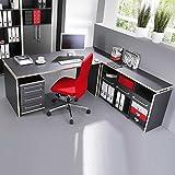 Pharao24 Büromöbel Schreibtisch anthrazit Mongo