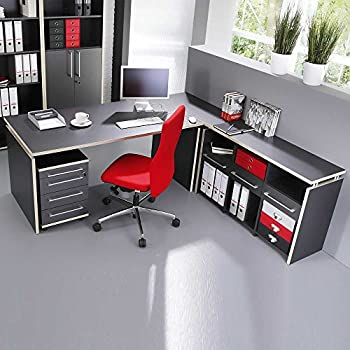 Pharao24 Büromöbel Schreibtisch anthrazit Mongo: Amazon.de: Küche ...