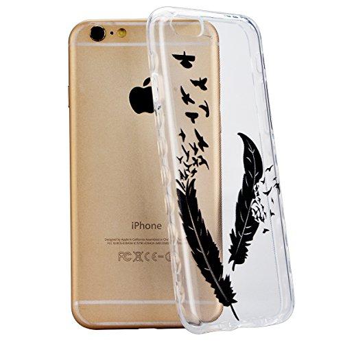 GrandEver iPhone 6/iPhone 6S(4.7 Zoll) Weiche Silikon Hülle Durchsichtige Rückschale TPU Bumper Transparent Schutzhülle Klar Handytasche mit Muster Anti-Kratzer Stoßdämpfung Ultra Slim Rückseite Silic Feder und Vogel