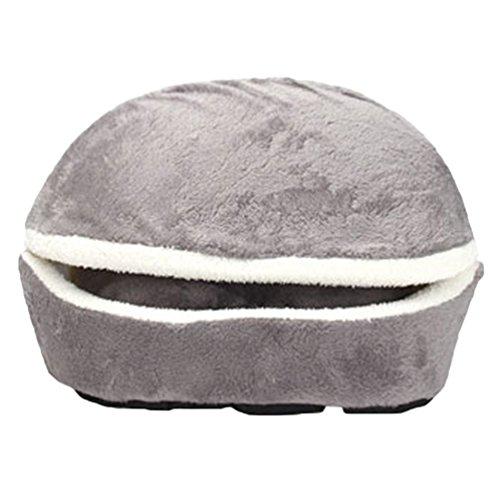 Lvrao 2 in 1 pet casa nido a forma di conchiglia accogliente caldo cuscino cuccia morbido letto per cani animale (grigio, 45*32*32cm)