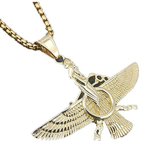 MCSAYS Hip Hop Schmuck zoroastrismus Ring Eagle Anhänger Edelstahl Box Kette Bling Religiöse Halskette Fashion Zubehör