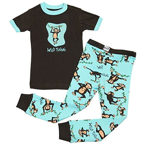 Lazy One Unisex Wild Thing Monkey Kids PJ Set Short Sleeve